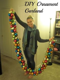 DIY Holiday Ornament Garland with some Dollar Store ornaments :) maybe add in a few favorite ornaments to make it special!