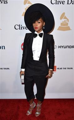 Janelle Monae arrives at the 2015 Clive Davis pre-Grammy Gala at the Beverly Hilton Hotel in Beverly Hills, Calif., on Feb. 7, 2015.