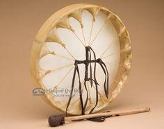 """Native American Deer Hide Hoop Drum 12"""""""" -Cherokee (cd188)"""