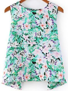 Green Round Neck Sleeveless Floral Loose Blouse pictures
