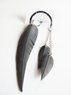 Asymmetrical Feather Chain Earrings  Recycled by RosePedalsJewelry