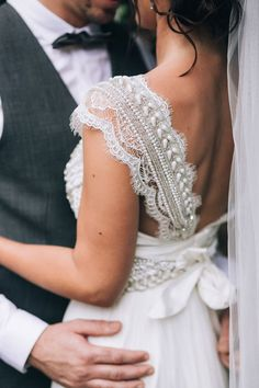 Anna Campbell wedding dress beaded sleeve detail | Raconteur Photography