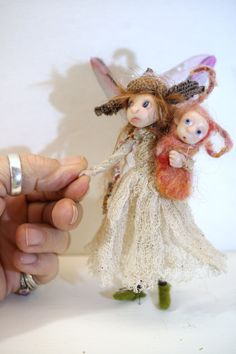 ooak poseable 5 inch woodland pixie fairy with her baby ( #21 ) original polymer clay art doll by DinkyDarlings  elf faery angel by DinkyDarlings on Etsy