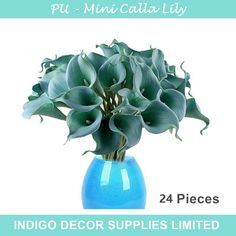 """Find More Decorative Flowers & Wreaths Information about 24pcs Blue Mini Calla Lily 14"""" Mini Calla Lily Bridal Wedding Bouquet Latex Real Touch Flower Bunch Home Decor Free Shipping,High Quality lily wall decor,China lily of the valley scent Suppliers, Cheap lily hair from Indigo Decor Supplies Limited on Aliexpress.com"""