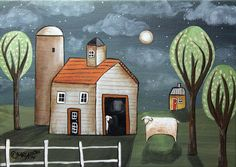 Night Sheep 5x7 inch Canvas Panel ORIG Landscape PAINTING PRIM FOLK ART Karla G ...new painting for sale...just added to store... #FolkArtAbstractPrimitiveLandscape