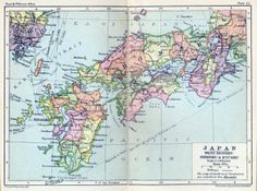Map of Japan West Honshu Shikoku and Kyushu 1932