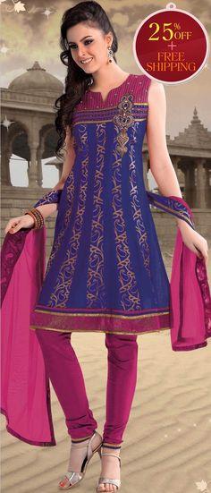 #Blue #Cotton Readymade #Churidar Kameez @ $ 83.33