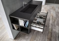 Sense, the new bathroom furniture collection by AQUA, revolves around the concept of materials: its aesthetic inspiration blends technically advanced materials. The FENIX NTM® material, created w. Bathroom Cabinets, Bathroom Furniture, Bathroom Interior, Modern Bathroom, Small Bathroom, Bathroom Ideas, Fenix Ntm, Living Room Entertainment Center, Bathroom Collections
