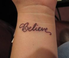"Holy crap, that's almost the exact font and size I always imagined my Believe tattoo being. Just change that ""L"" to a treble clef and it's perfect! :)"
