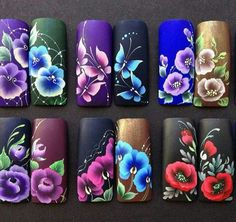 Uñas one stroke, one stroke nails, one stroke painting, nails & co, flo Nails & Co, 3d Nails, Cute Nails, Uñas One Stroke, One Stroke Nails, Nail Art Designs, Nails 2017, Nails First, Nail Polish Art