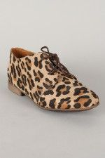 Breckelle Sandy-31S Leopard Lace Up Oxford Flat