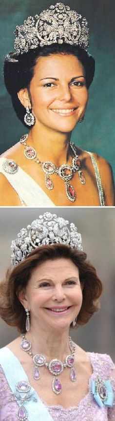 The Braganza tiara 34 years apart, first time and last time Queen Silvia wore the tiara Photo 1, Queen Silvia 1976 Photo 2; Queen Silvia at Crown Princess Wedding 2010