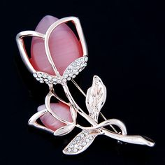 Amader Elegant Opal Tulip Brooches For Women Bijoux Fine Jewelry Rhinestone Hollow Flower Brooches Pins Dress Accessories #Affiliate