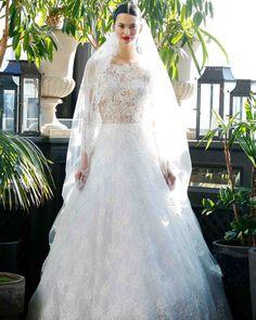 "Francesca Miranda Fall 2017 Wedding Dress Collection   Martha Stewart Weddings – ""Belle"" Long-sleeved ball gown adorned with Swarovski crystals."