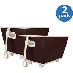 Delta Storage Bins with Wheels, Set of 2, Chocolate
