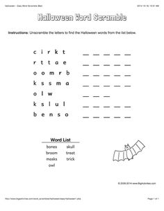 Halloween word scramble featuring a bat. 4 levels of difficulty. Scrambled words change each time you visit