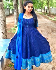 Beautiful royal blue color floor length anarkali dress with multi color tassels.Com Kalamkari Dresses, Ikkat Dresses, Blouse Designs Silk, Blouse Neck Designs, Designer Anarkali Dresses, Salwar Dress, Sari Dress, Salwar Kameez, Long Gown Dress
