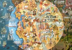 """Pageant of History"" (1954) Millard Sheets, American Trust Banks, Sacramento"