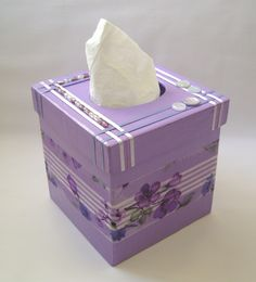box of tissues decorated | purple tissue box hand painted purple tissue box…