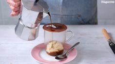DIY affogato with melting chocolate