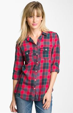 Rubbish® Plaid Woven Shirt (Juniors) available at #Nordstrom
