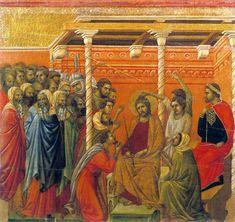 Maestà (reverse, central panel, 17) The Crown of Thorns (Duccio di Buoninsegna, 1308-11)