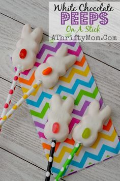 Peeps on a stick, White Chocolate Covered peeps with jelly bean tails. Quick and Easy Easter treat idea #Easter, #peeps, #Dessert,