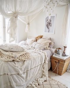 15 Bohemian Bedrooms With Free Spirit Vibes - Bohemian bedroom with ivory sheets and white canopy drapes via Bohemian Room, Bohemian Bedroom Decor, Home Decor Bedroom, Bedroom Ideas, Bedroom Designs, Modern Bedroom, Bohemian Style, Modern Bohemian, Bohemian House