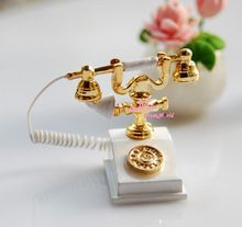 1/12 Scale Dollhouse Miniature Vintage WHITE Telephone Phone PURE Gift Furniture(China (Mainland))