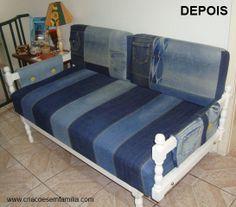 CRiações em família & cia.: Sofá renovado com jeans/ reuse/ before and after/ home decor