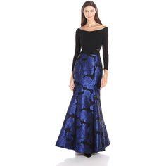 Xscape Women's Long Brocade Mermaid Skirt with Off the Shoudler Ity... ($269) ❤ liked on Polyvore featuring xscape