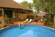 Pool deck and patio ideas images. We specialise in pool deck and patio installation. Above Ground Pool Landscaping, Small Backyard Pools, Backyard Pool Designs, Swimming Pools Backyard, Backyard Ideas, Diy Pool, Backyard Fences, Best Above Ground Pool, Above Ground Swimming Pools