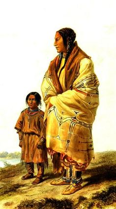 Dacota Woman and Assiniboin Girl, plate 9 from volume 2 of `Travels in the Interior of North America' - Karl Bodmer