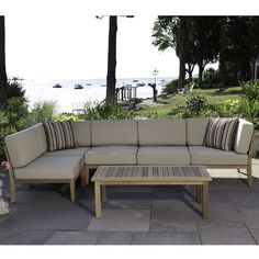Madbury Road Bali Teak 6 Piece Sectional Seating Group with Cushions Outdoor Sofa, Outdoor Furniture, Outdoor Decor, Club Chairs, Natural Wood, Teak, Bali, Hardwood, Upholstery