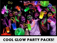 GlowSource Party Packs Have an Assortment of Fun Light Up LED and Glow Items! Glow Glasses, LED Necklaces, Multicolor Glow Sticks, and More. Glow In Dark Party, Glow Stick Party, Glow Sticks, Neon Birthday, 13th Birthday Parties, 16th Birthday, Birthday Ideas, Blacklight Party, Sweet 16 Parties