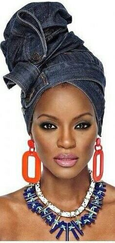 It's actually her jean that she wears on her head,I wrap my head with my jeans too African Beauty, African Women, African Fashion, Turbans, Headscarves, Pelo Afro, African Head Wraps, Head Wrap Headband, Black Girls Rock