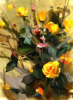 """qiang-huang, a daily painter: """"Yellow Rose Study 081215"""" --- Sold"""