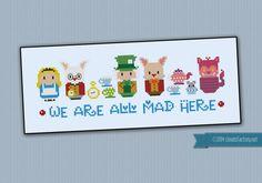 Alice in Wonderland - We're all mad here : cross stitch pattern by Ambra Nardi