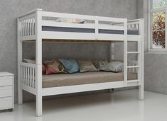 The Magnus Bunk Beds have a sturdy frame to provide a safe and stable sleeping platform.  With chunky heavy duty supporting corner columns these bunk beds are ideal for growing children. 3 Bunk Beds, White Bunk Beds, Wooden Bunk Beds, Bunk Beds With Storage, Bed Storage, Bed Frame Sizes, Mid Sleeper Bed, White Painted Furniture, Beds Online