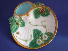 Minton Majolica White Ground Strawberry Serving Plate c1870