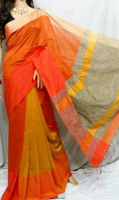 Vibrant orange cotton silk saree