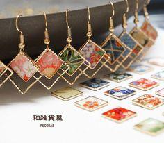 【新柄追加】和 耳元ゆらゆら スクエア ピアス2 Resin Jewelry, Wire Wrapped Jewelry, Jewelry Crafts, Jewellery, Jewelry Ideas, Wholesale Gold Jewelry, Paper Earrings, Diy Earrings, Diy Resin Crafts