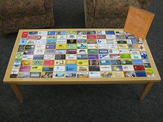 """Who says, """"you've seen one library card, you've seen them all""""? Tommy's Library Card Table via Swiss Army Librarian (click through for back story & bigger image!)"""