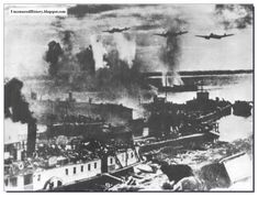 This is Stalingrad in 1942. The Russians are ferrying men and supplies into the city by boat over the Volga. The Luftwaffe bombers are hammering them. Crossing the river was very hazardous.