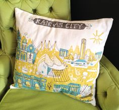 "This listing is for a pillow cover only-pillow insert not included. The Kansas City pillow cover features 5 of the most beautiful KC landmarks: Country Club Plaza, Kauffman Performing Arts Center, Liberty Memorial, Union Station, and the Nelson-Atkins Museum of Art. This is a pillow cover with pillow insert so that it can be removed for easy laundering. Also be sure to check out the other KC items in my shop including prints, blank cards, and tea towels.  • 16"" x 16"" pillow cover-100% cotton…"