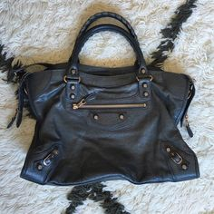 Balenciaga City Anthracite Rose Gold G12 RARE :::::STILL DECIDING:::::  condition: great condition with minor signs of wear to rope and edging on handles (slightly softer due to use). Corners have no holes but show very faint signs of rubbing. Comes with original price tag, mirror, long strap, and dust bag Balenciaga Bags Satchels