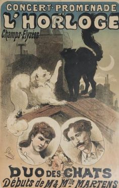 """Duo des Chats"", 1876 - Concert poster by French illustrator Jules Chéret (1836-1932)"
