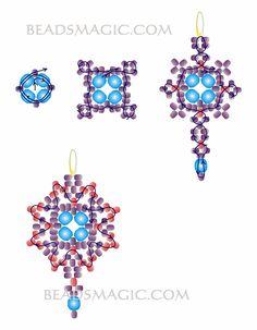 Free pattern for earrings Violet - 2-------------------------U need: 8 faceted beads 4mm 2 faceted beads 6 mm seed beads 10/0 seed beads 11/0