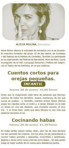 Alicia Molina, Barcelona: Cuentos cortos para orejas pequeñas. Jueves 28 de junio a las  a las 19 . h. Sesión Infantil.: Dicen que la imaginación está llena de palabras que fabrican cuentos de todos los tamaños. Y Cocinando habas a las 21.31 h. Sesión adultos. Barcelona, Movies, Movie Posters, To Tell, Thursday, Words, Activities, Films, Film Poster