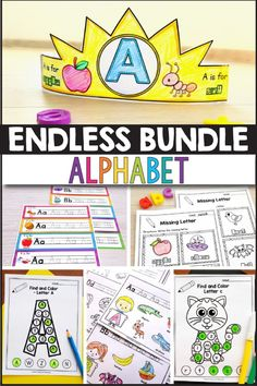 Alphabet printable activities for preschool and kindergarten.This bundle of worksheets will make teaching and practice English uppercase and lowercase letters Teacher Tools, Teacher Resources, Reading Resources, Alphabet Activities, Learning Activities, English Activities, Teaching Ideas, Primary Classroom, Primary School